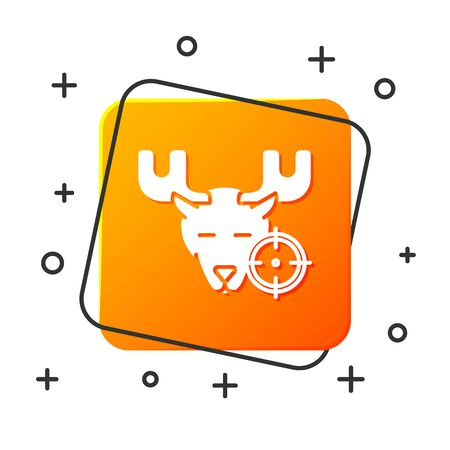 White Hunt on moose with crosshairs icon isolated on white background. Hunting club with moose and target. Rifle lens aiming a moose. Orange square button. Vector Illustration