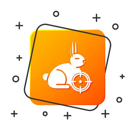White Hunt on rabbit with crosshairs icon isolated on white background. Hunting club with rabbit and target. Rifle lens aiming a hare. Orange square button. Vector Illustration