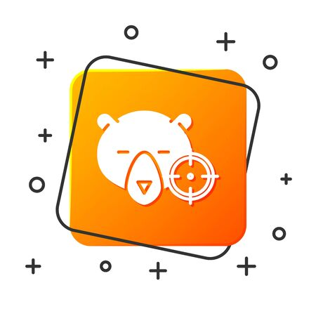 White Hunt on bear with crosshairs icon isolated on white background. Hunting club with bear and target. Rifle lens aiming a bear. Orange square button. Vector Illustration Vettoriali