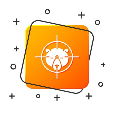 White Hunt on bear with crosshairs icon isolated on white background. Hunting club with bear and target. Rifle lens aiming a bear. Orange square button. Vector Illustration Illustration