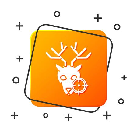 White Hunt on deer with crosshairs icon isolated on white background. Hunting club with deer and target. Rifle lens aiming a deer. Orange square button. Vector Illustration