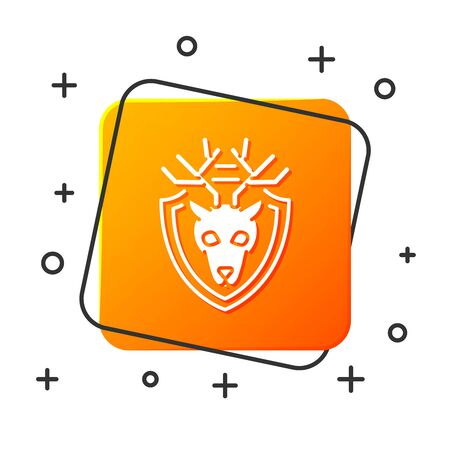 White Deer head with antlers on shield icon isolated on white background. Hunting trophy on wall. Orange square button. Vector Illustration