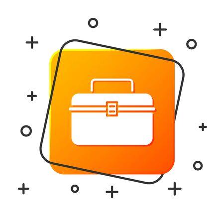 White Case or box container for wobbler and gear fishing equipment icon isolated on white background. Fishing tackle. Orange square button. Vector Illustration