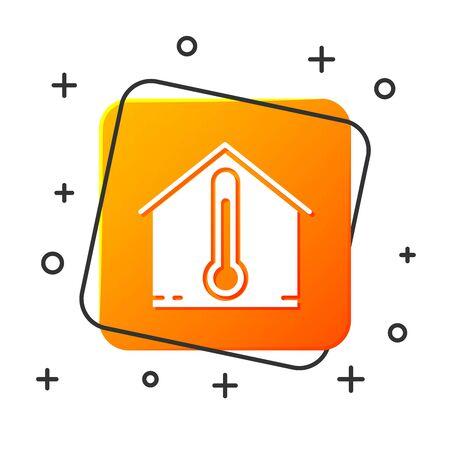 White House temperature icon isolated on white background. Thermometer icon. Orange square button. Vector Illustration