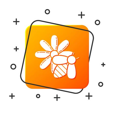 White Bee and flower icon isolated on white background. Sweet natural food. Honeybee or apis with wings symbol. Flying insect. Orange square button. Vector Illustration Illustration