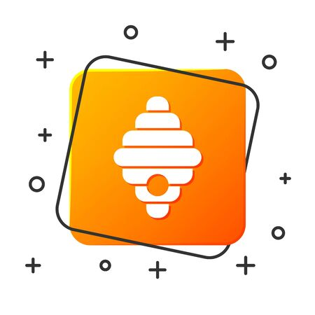 White Hive for bees icon isolated on white background. Beehive symbol. Apiary and beekeeping. Sweet natural food. Orange square button. Vector Illustration Ilustracja
