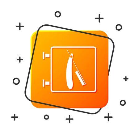 White Barbershop with razor icon isolated on white background. Hairdresser signboard. Orange square button. Vector Illustration Standard-Bild - 129045008