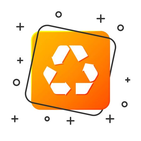 White Recycle symbol icon isolated on white background. Circular arrow icon. Environment recyclable go green. Orange square button. Vector Illustration