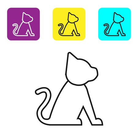 Black line Cat icon isolated on white background. Set icons colorful square buttons. Vector Illustration Иллюстрация