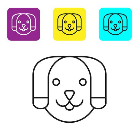Black line Dog icon isolated on white background. Set icons colorful square buttons. Vector Illustration Archivio Fotografico - 129045048