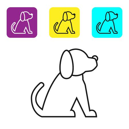 Black line Dog icon isolated on white background. Set icons colorful square buttons. Vector Illustration Archivio Fotografico - 129045056