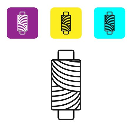 Black line Sewing thread on spool icon isolated on white background. Yarn spool. Thread bobbin. Set icons colorful square buttons. Vector Illustration Illustration