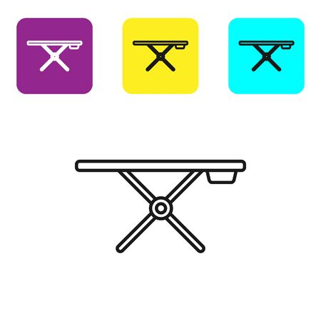 Black line Ironing board icon isolated on white background. Set icons colorful square buttons. Vector Illustration