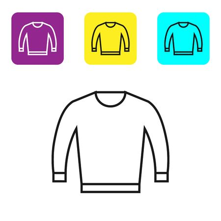 Black line Sweater icon isolated on white background. Pullover icon. Set icons colorful square buttons. Vector Illustration