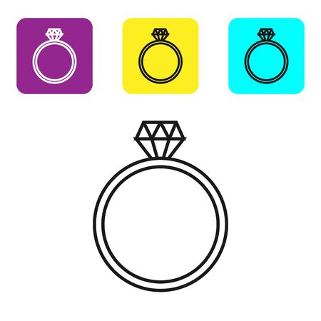 Black line Diamond engagement ring icon isolated on white background. Set icons colorful square buttons. Vector Illustration Standard-Bild - 129045103