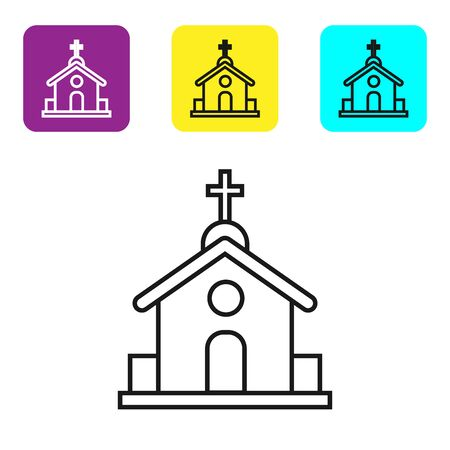 Black line Church building icon isolated on white background. Christian Church. Religion of church. Set icons colorful square buttons. Vector Illustration