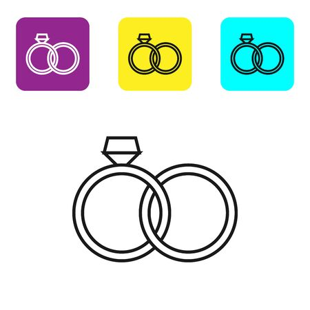 Black line Wedding rings icon isolated on white background. Bride and groom jewelery sign. Marriage icon. Diamond ring icon. Set icons colorful square buttons. Vector Illustration Ilustrace