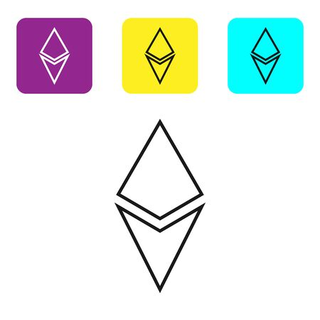Black line Cryptocurrency coin Ethereum ETH icon on white background. Altcoin symbol. Blockchain based secure crypto currency. Set icons colorful square buttons. Vector Illustration