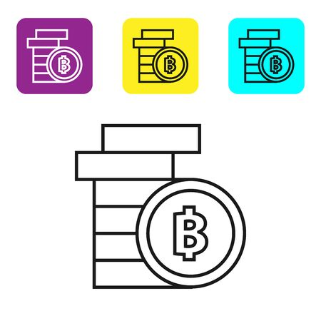 Black line Cryptocurrency coin Bitcoin icon on white background. Physical bit coin. Blockchain based secure crypto currency. Set icons colorful square buttons. Vector Illustration Ilustracja