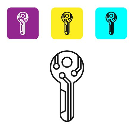Black line Cryptocurrency key icon on white background. Concept of cyber security or private key, digital key with technology interface. Set icons colorful square buttons. Vector Illustration Ilustracja