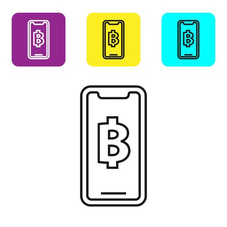 Black line Phone mobile and cryptocurrency coin Bitcoin icon on white background. Physical bit coin. Blockchain based secure crypto currency. Set icons colorful square buttons. Vector Illustration