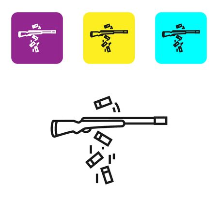 Black line Gun shooting icon isolated on white background. Set icons colorful square buttons. Vector Illustration  イラスト・ベクター素材