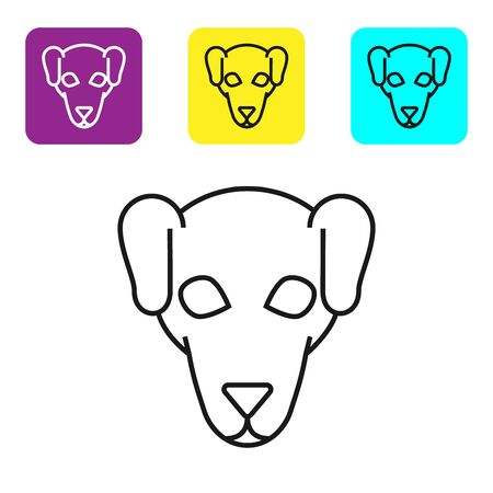 Black line Hunting dog icon isolated on white background. Set icons colorful square buttons. Vector Illustration Ilustração