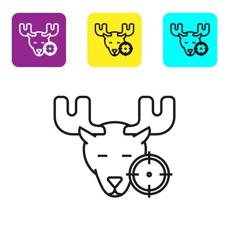 Black line Hunt on moose with crosshairs icon isolated on white background. Hunting club with moose and target. Rifle lens aiming a moose. Set icons colorful square buttons. Vector Illustration Illustration