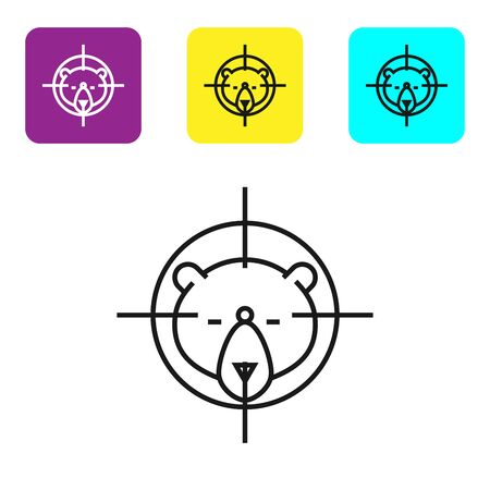 Black line Hunt on bear with crosshairs icon isolated on white background. Hunting club with bear and target. Rifle lens aiming a bear. Set icons colorful square buttons. Vector Illustration