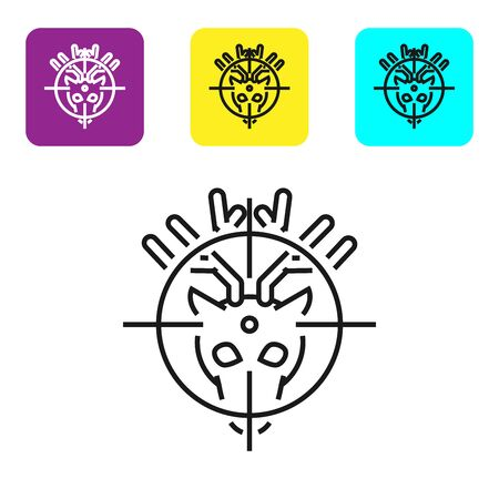 Black line Hunt on deer with crosshairs icon isolated on white background. Hunting club with deer and target. Rifle lens aiming a deer. Set icons colorful square buttons. Vector Illustration Illustration