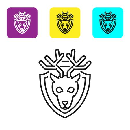 Black line Deer head with antlers on shield icon isolated on white background. Hunting trophy on wall. Set icons colorful square buttons. Vector Illustration