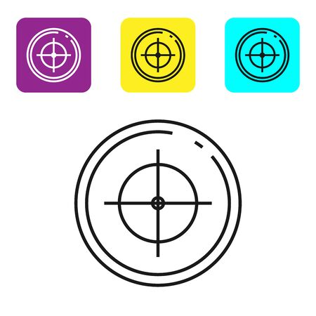 Black line Target sport for shooting competition icon isolated on white background. Clean target with numbers for shooting range or shooting. Set icons colorful square buttons. Vector Illustration