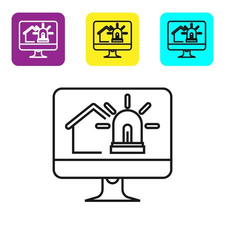 Black line Computer monitor with smart house and alarm icon isolated on white background. Security system of smart home. Set icons colorful square buttons. Vector Illustration  イラスト・ベクター素材