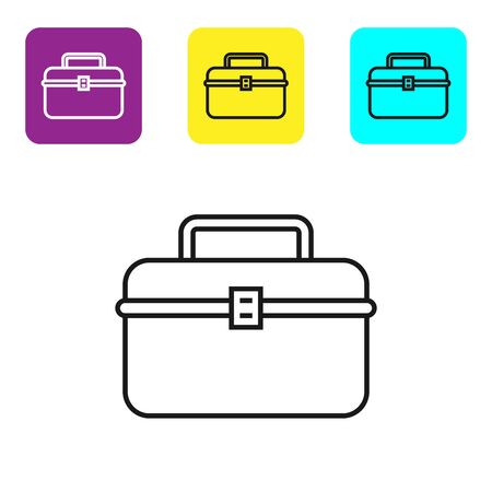 Black line Case or box container for wobbler and gear fishing equipment icon isolated on white background. Fishing tackle. Set icons colorful square buttons. Vector Illustration