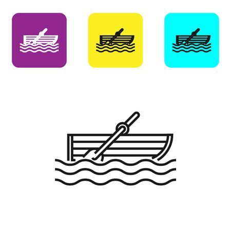 Black line Fishing boat with oars on water icon isolated on white background. Set icons colorful square buttons. Vector Illustration