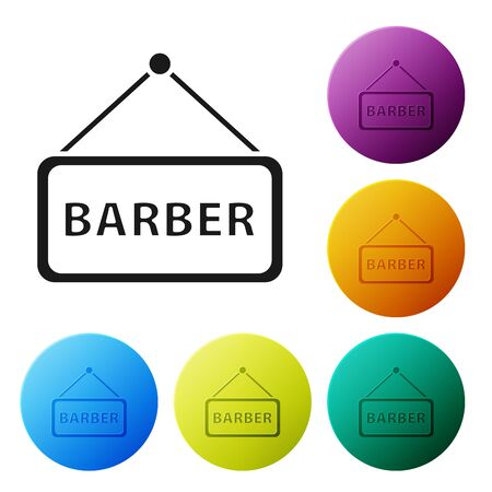 Black Barbershop icon isolated on white background. Hairdresser logo or signboard. Set icons colorful circle buttons. Vector Illustration