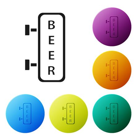 Black Street signboard with inscription Beer icon isolated on white background. Suitable for advertisements bar, cafe, pub, restaurant. Set icons colorful circle buttons. Vector Illustration
