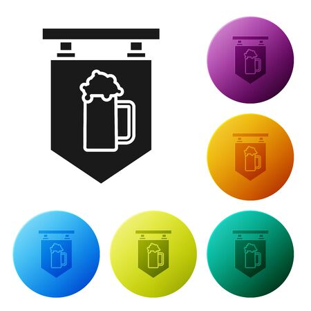 Black Street signboard with glass of beer icon isolated on white background. Suitable for advertisements bar, cafe, pub, restaurant. Set icons colorful circle buttons. Vector Illustration
