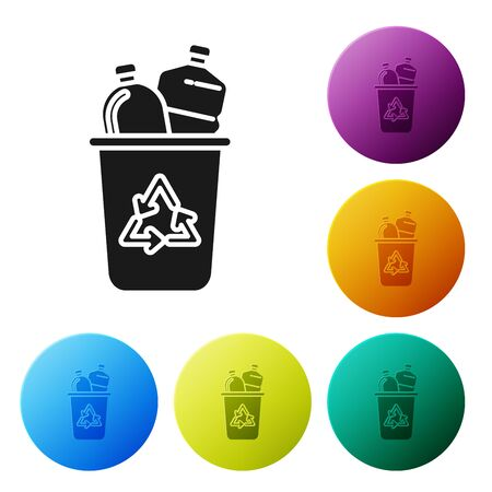 Black Recycle bin with recycle symbol icon isolated on white background. Trash can icon. Garbage bin sign. Recycle basket sign. Set icons colorful circle buttons. Vector Illustration  イラスト・ベクター素材