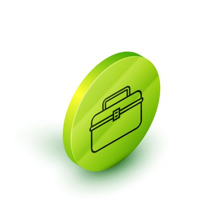 Isometric line Case or box container for wobbler and gear fishing equipment icon isolated on white background. Fishing tackle. Green circle button. Vector Illustration