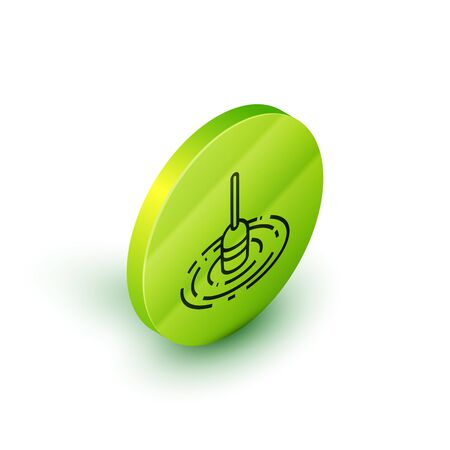 Isometric line Fishing float in water icon isolated on white background. Fishing tackle. Green circle button. Vector Illustration  イラスト・ベクター素材