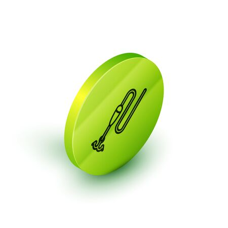 Isometric line Fishing line with hook and float icon isolated on white background. Fishing tackle. Green circle button. Vector Illustration