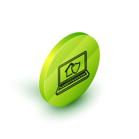 Isometric line Laptop with house under protection icon isolated on white background. Protection, safety, security, protect, defense concept. Green circle button. Vector Illustration Stok Fotoğraf - 129773709
