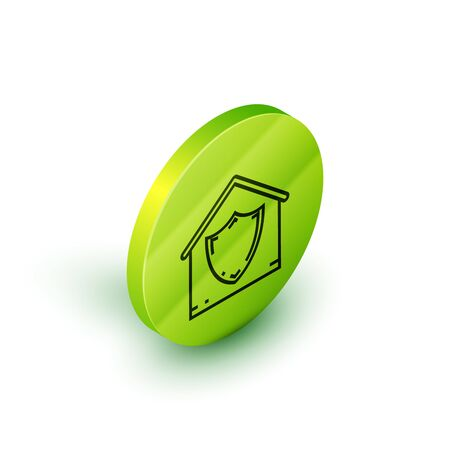 Isometric line House under protection icon isolated on white background. Protection, safety, security, protect, defense concept. Green circle button. Vector Illustration Stok Fotoğraf - 129777852