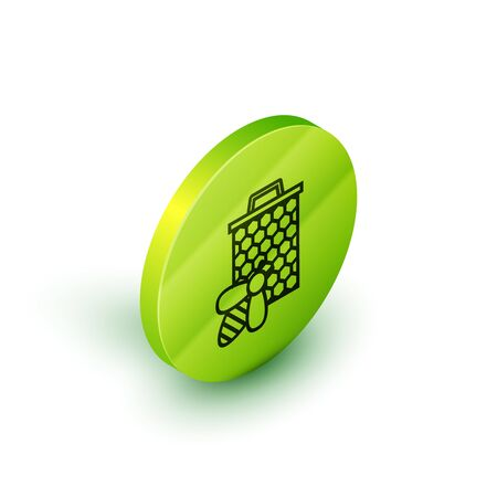 Isometric line Bee and honeycomb icon isolated on white background. Honey cells. Sweet natural food. Honeybee or apis with wings symbol. Flying insect. Green circle button. Vector Illustration