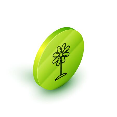 Isometric line Flower icon isolated on white background. Sweet natural food. Green circle button. Vector Illustration