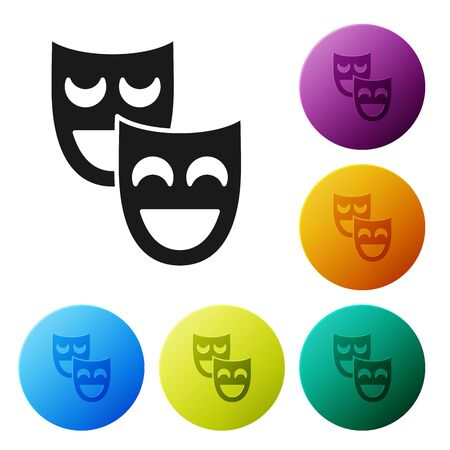 Black Comedy theatrical masks icon isolated on white background. Set icons colorful circle buttons. Vector Illustration