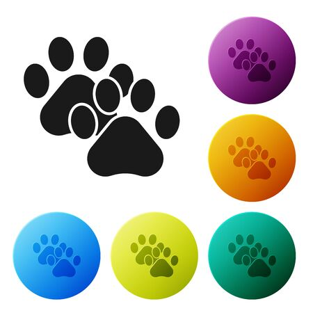 Black Paw print icon isolated on white background. Dog or cat paw print. Animal track. Set icons colorful circle buttons. Vector Illustration 向量圖像