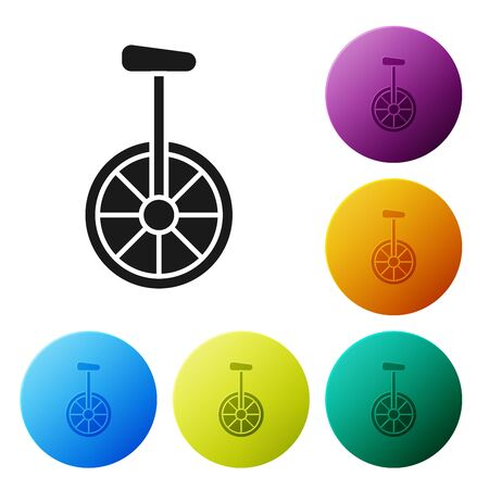 Black Unicycle or one wheel bicycle icon isolated on white background. Monowheel bicycle. Set icons colorful circle buttons. Vector Illustration