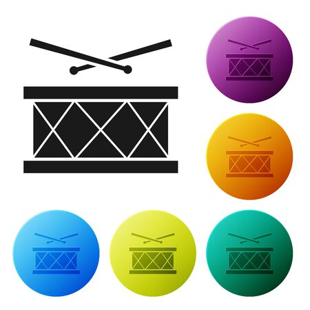Black Drum with drum sticks icon isolated on white background. Music sign. Musical instrument symbol. Set icons colorful circle buttons. Vector Illustration Stock Vector - 128914197